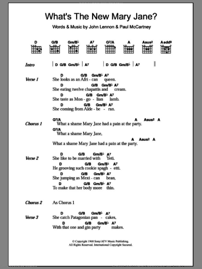What's The New Mary Jane? sheet music for guitar (chords) by The Beatles. Score Image Preview.