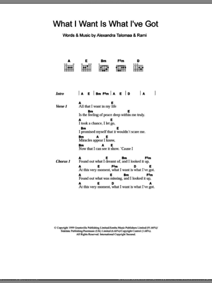 What I Want Is What I've Got sheet music for guitar (chords) by Westlife, intermediate. Score Image Preview.