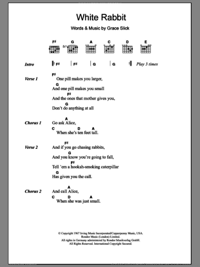 Airplane - White Rabbit sheet music for guitar (chords) v2