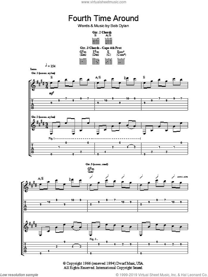 4th Time Around sheet music for guitar (tablature) by Bob Dylan