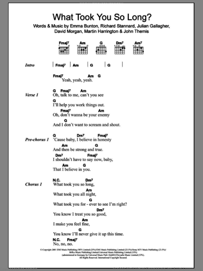 What Took You So Long? sheet music for guitar (chords) by Emma Bunton, intermediate skill level