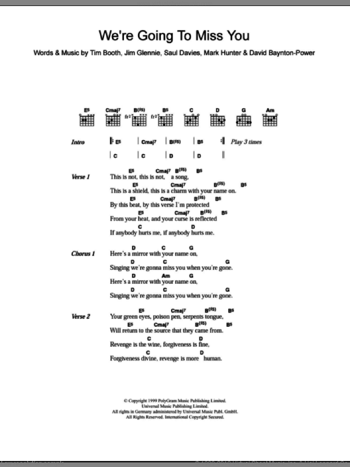 We're Going To Miss You sheet music for guitar (chords) by Alex James, intermediate. Score Image Preview.