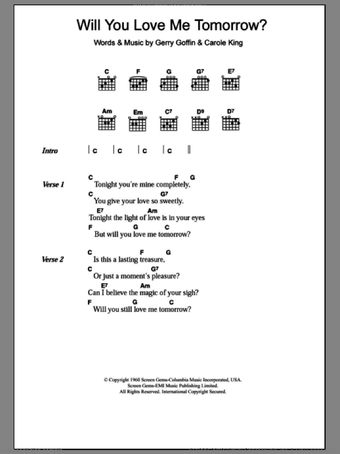 Will You Love Me Tomorrow sheet music for guitar (chords) by The Shirelles. Score Image Preview.