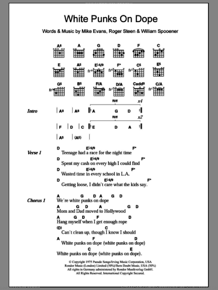 White Punks On Dope sheet music for guitar (chords) by The Tubes, intermediate
