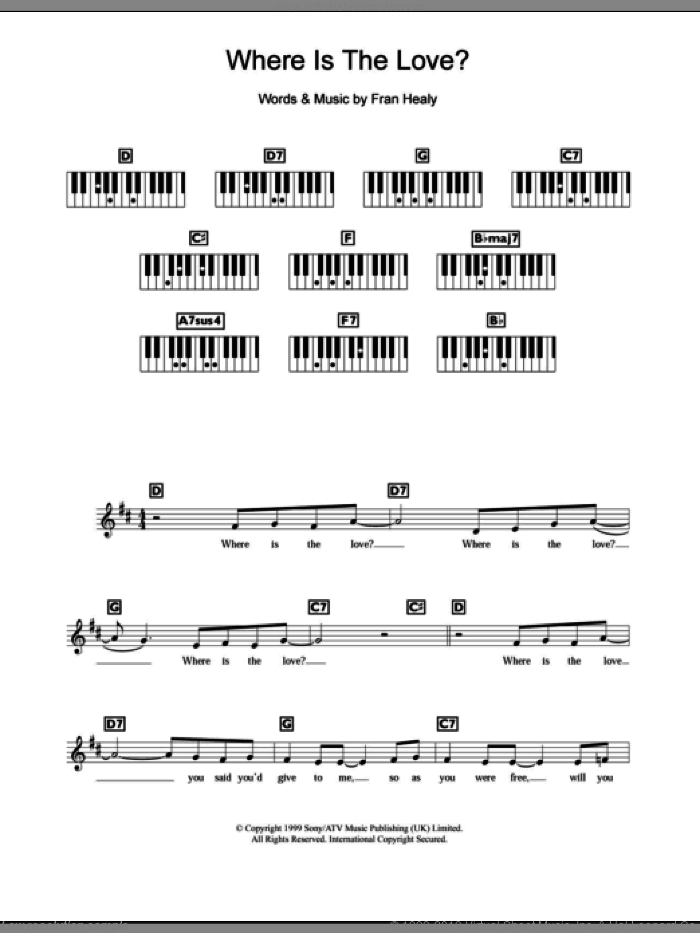 Where Is The Love sheet music for piano solo (chords, lyrics, melody) by Merle Travis. Score Image Preview.