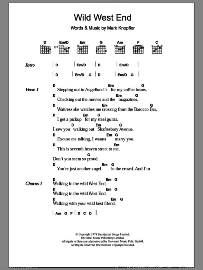 Wild West End sheet music for guitar (chords) by Dire Straits, intermediate