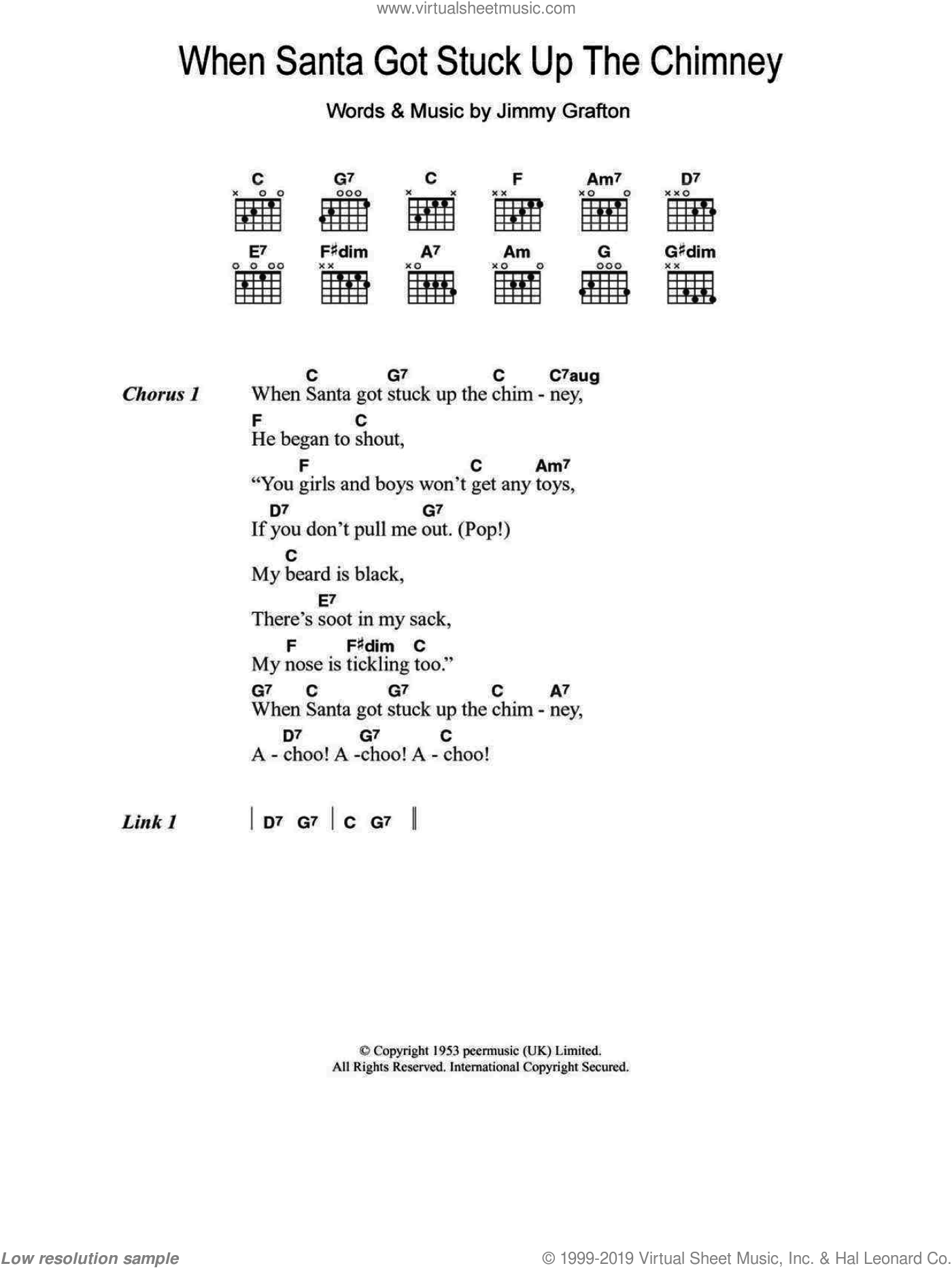 When Santa Got Stuck Up The Chimney sheet music for guitar (chords) by Jimmy Grafton