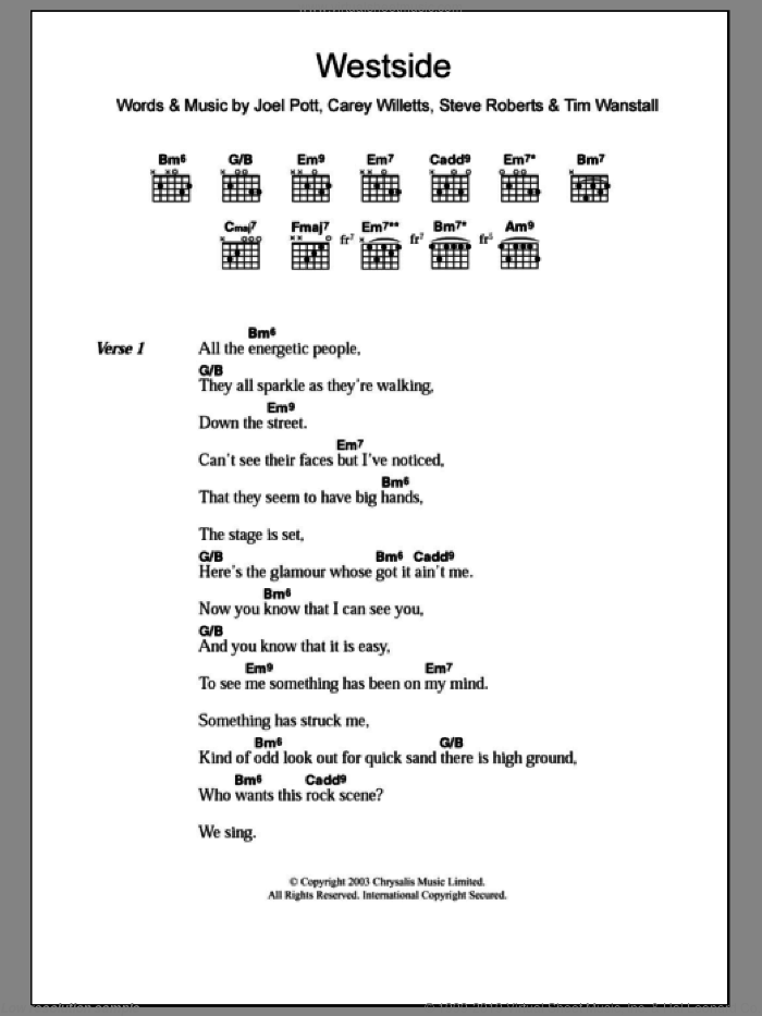 Westside sheet music for guitar (chords) by Athlete. Score Image Preview.