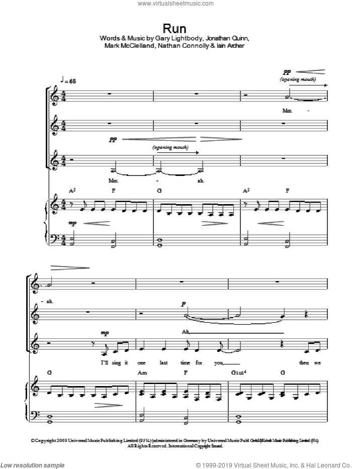 Run sheet music for choir and piano (SSA) by Snow Patrol