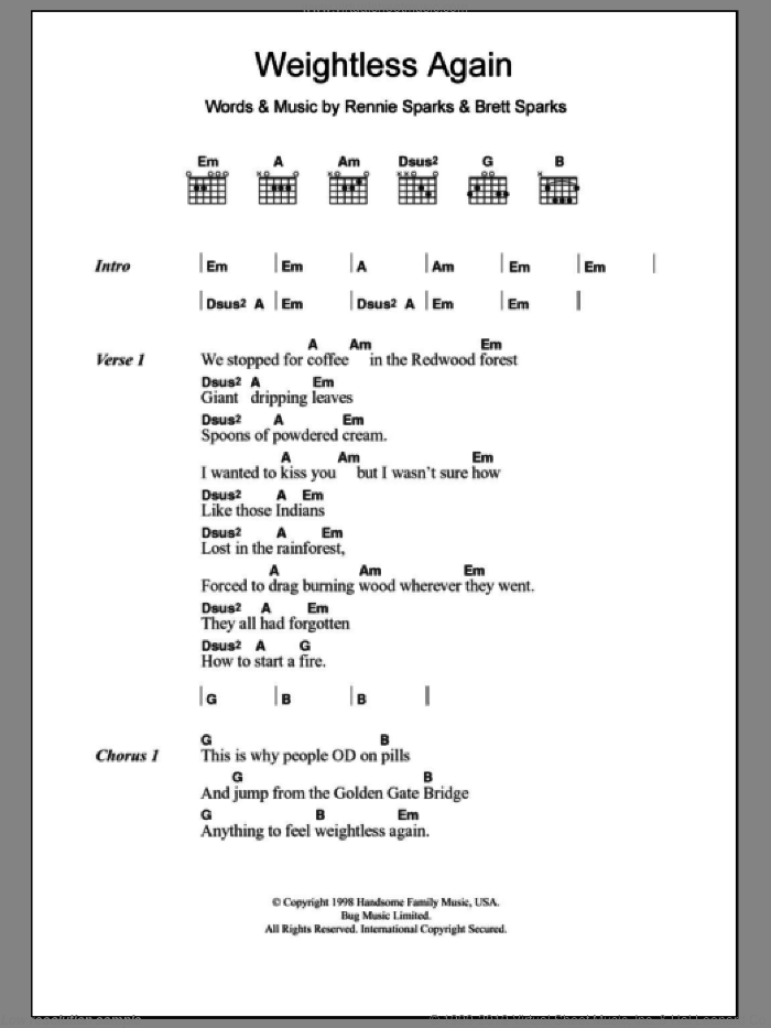 Weightless Again sheet music for guitar (chords) by The Handsome Family. Score Image Preview.