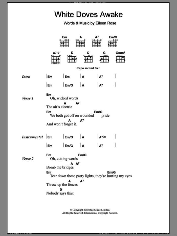 White Doves Awake sheet music for guitar (chords) by Eileen Rose, intermediate. Score Image Preview.