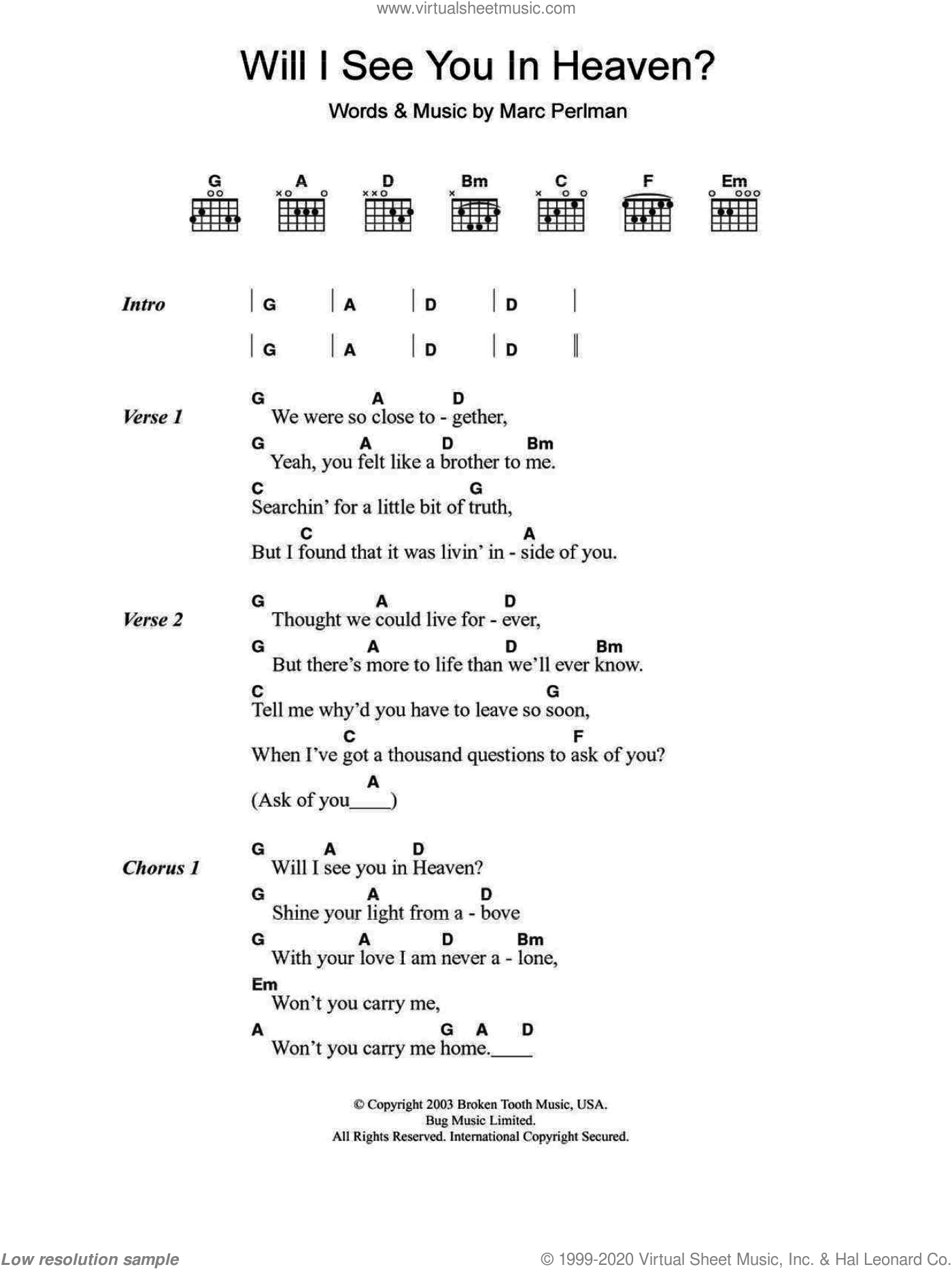Will I See You In Heaven sheet music for guitar (chords) by The Jayhawks. Score Image Preview.