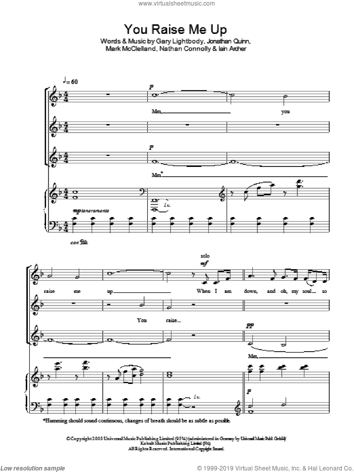 Westlife You Raise Me Up Sheet Music For Choir Ssa Soprano Alto