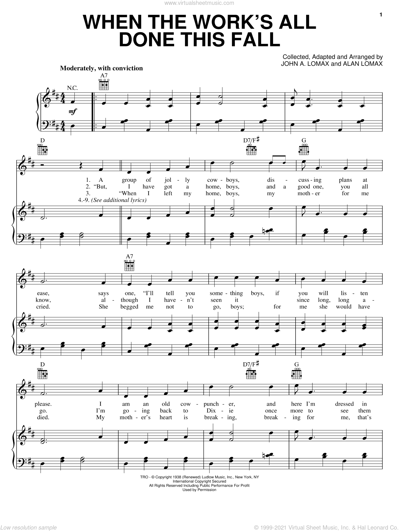When The Work's All Done This Fall sheet music for voice, piano or guitar by John A. Lomax. Score Image Preview.