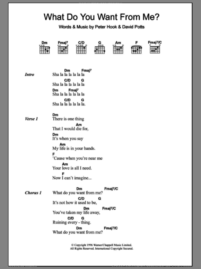 What Do You Want From Me? sheet music for guitar (chords, lyrics, melody) by James Monaco