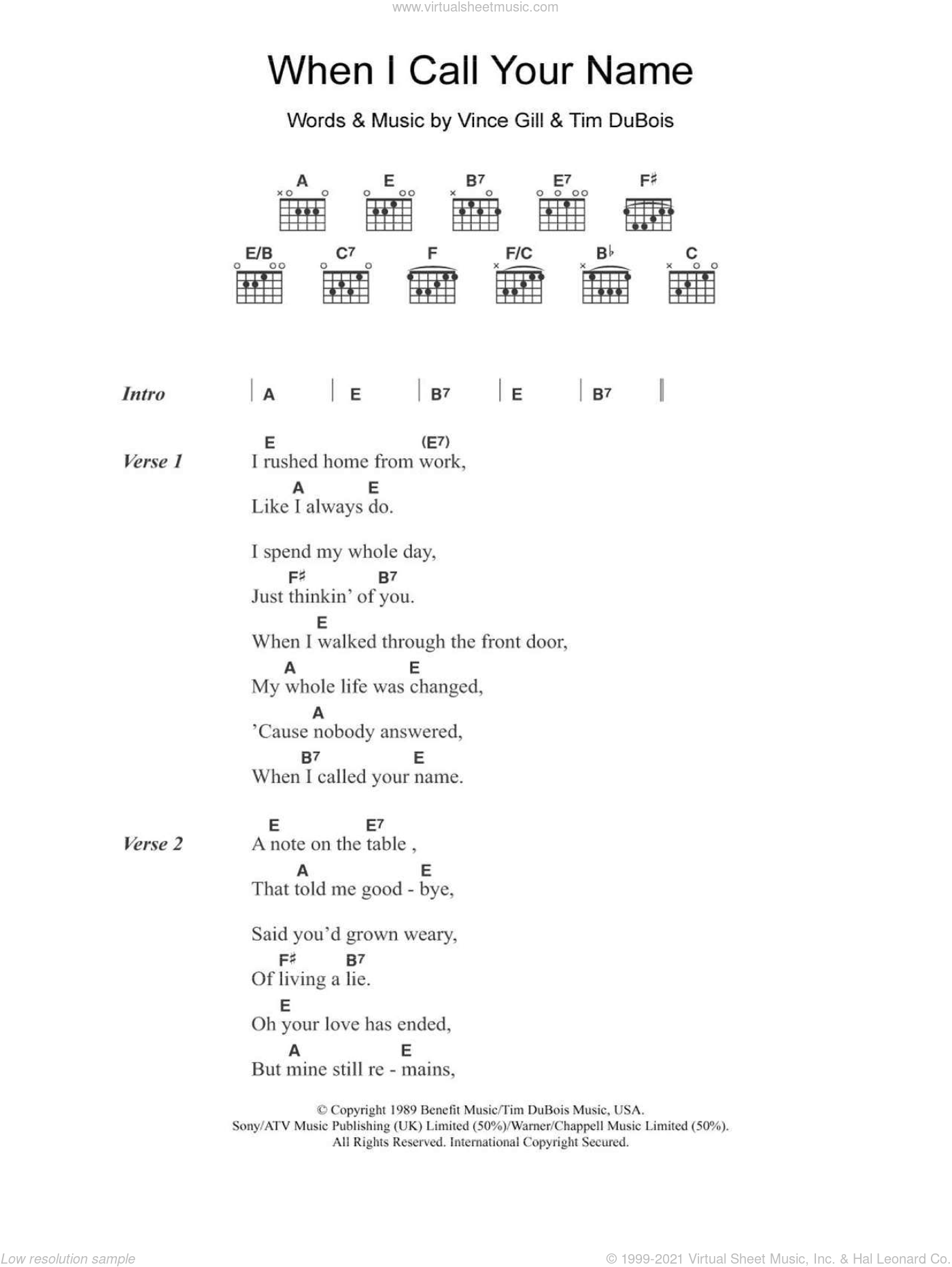 Gill - When I Call Your Name sheet music for guitar (chords)