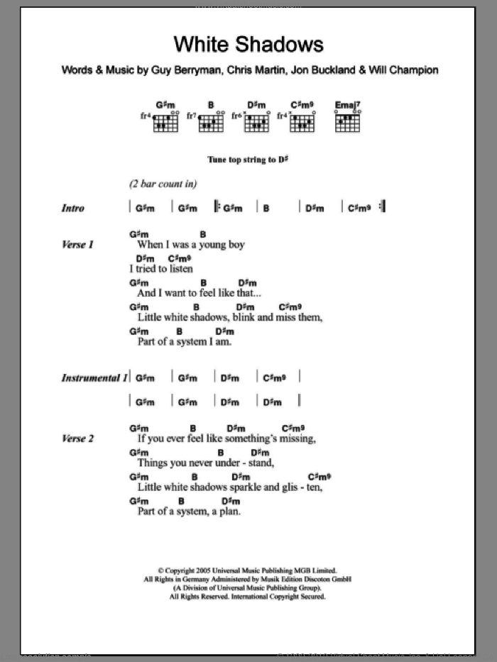 White Shadows sheet music for guitar (chords) by Coldplay. Score Image Preview.