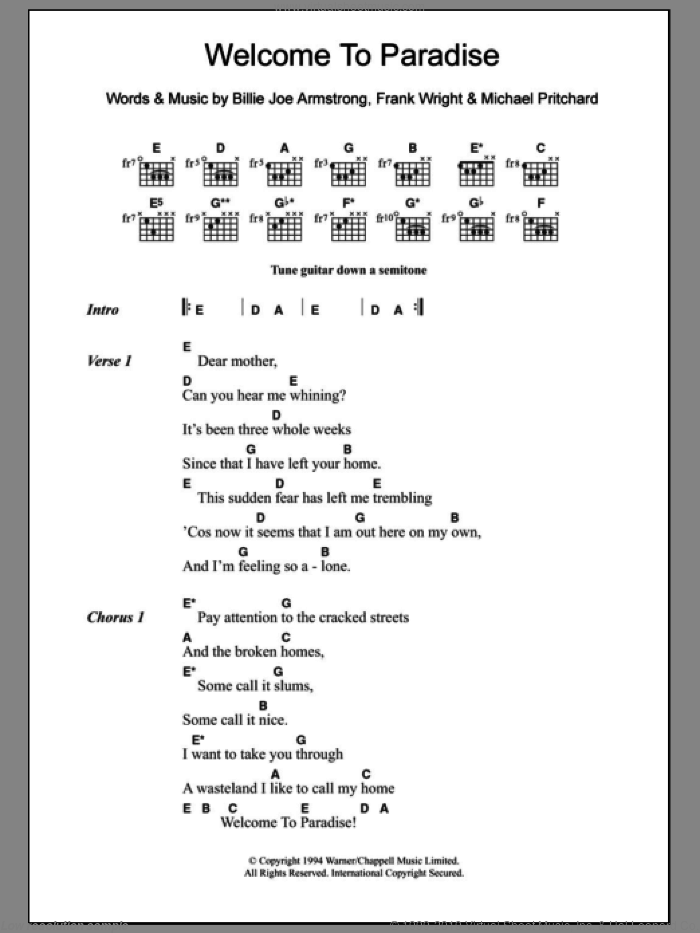Welcome To Paradise sheet music for guitar (chords) by Green Day, intermediate skill level