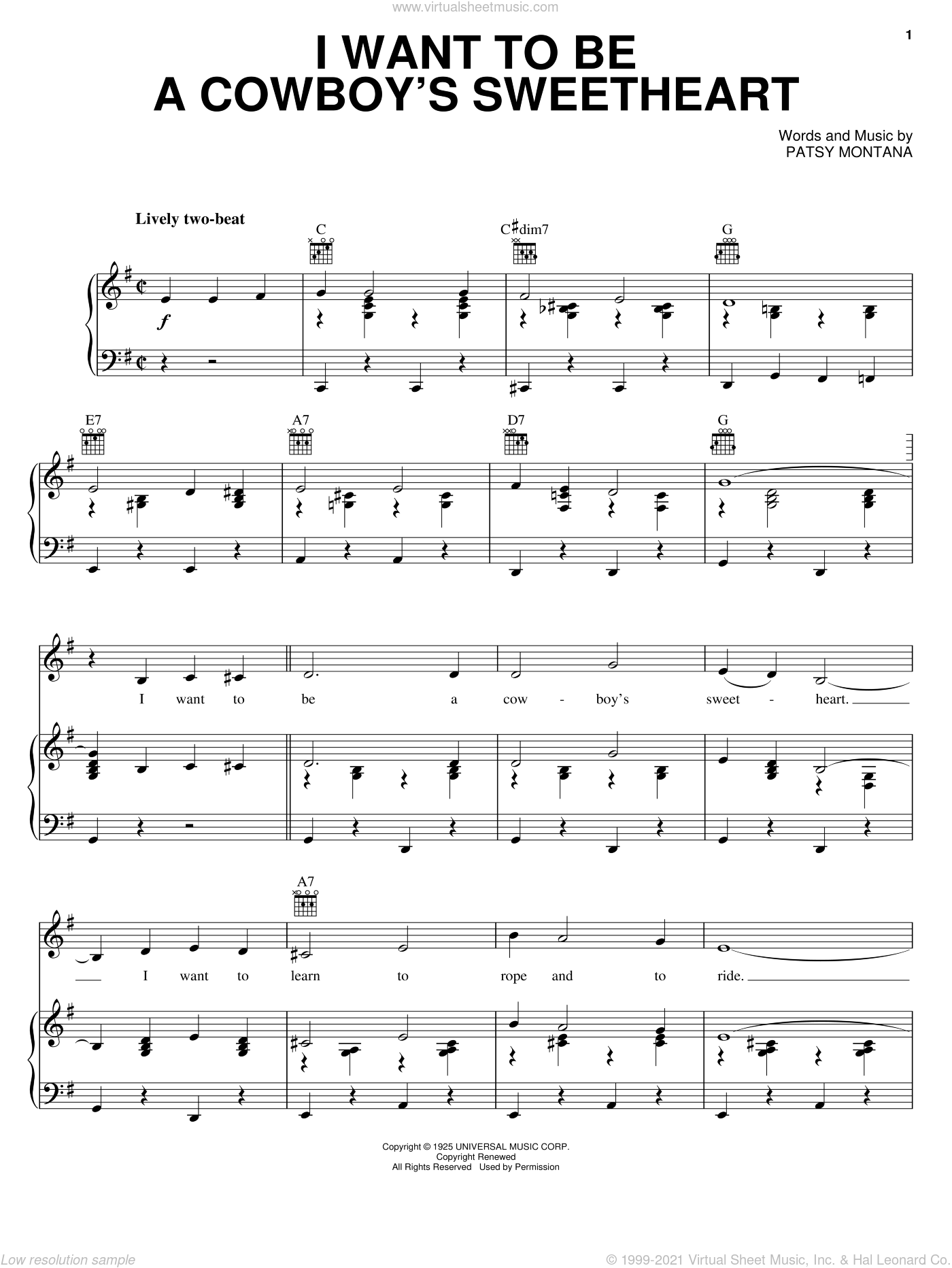 I Want To Be A Cowboy's Sweetheart sheet music for voice, piano or guitar by Patsy Montana and LeAnn Rimes. Score Image Preview.