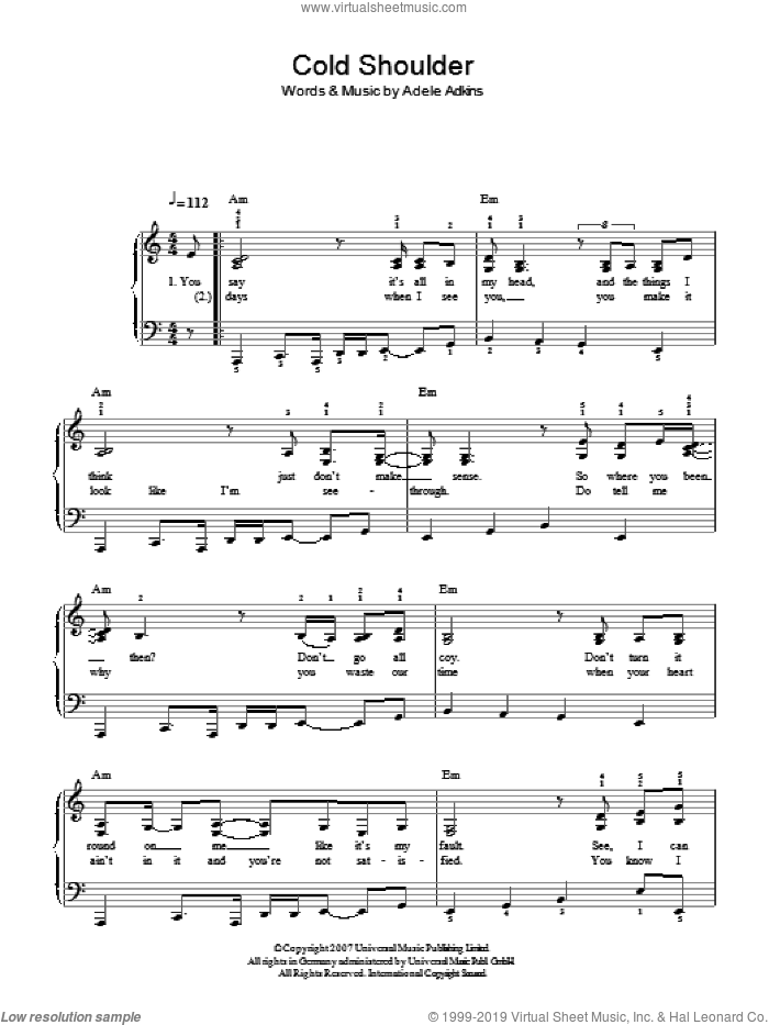 Cold Shoulder sheet music for piano solo by Adele, easy skill level