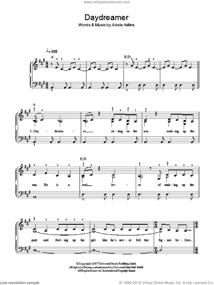 Daydreamer sheet music for piano solo by Adele. Score Image Preview.