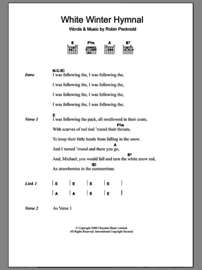 White Winter Hymnal sheet music for guitar (chords) by Fleet Foxes, intermediate. Score Image Preview.