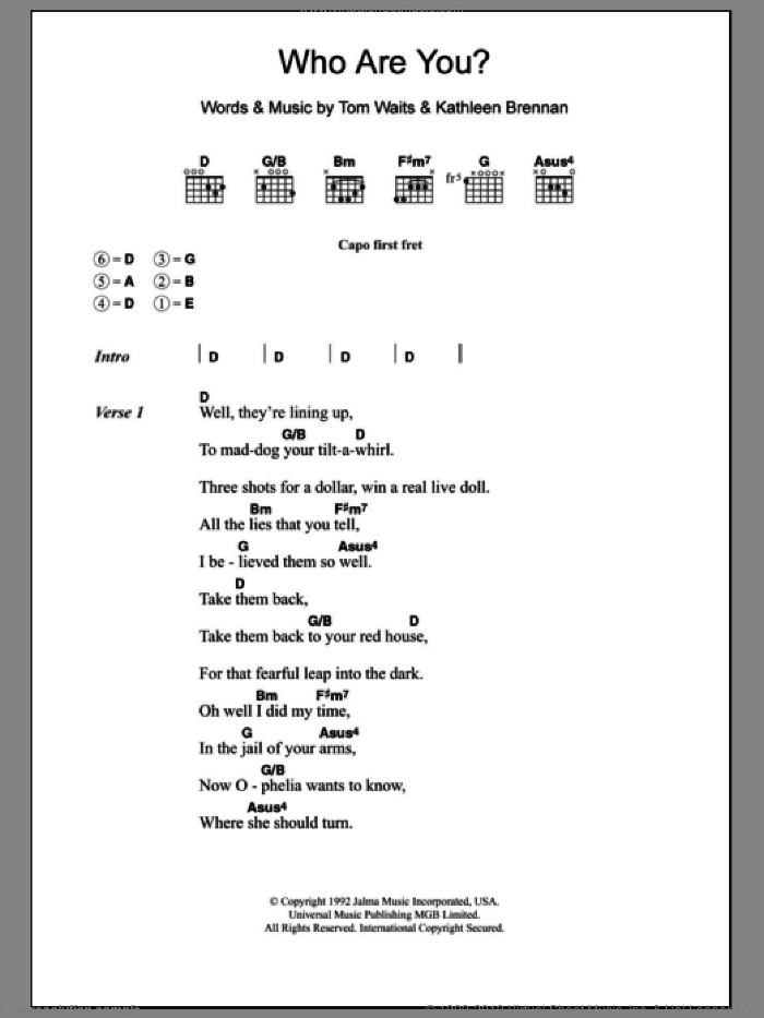 Who Are You sheet music for guitar (chords) by Tom Waits. Score Image Preview.