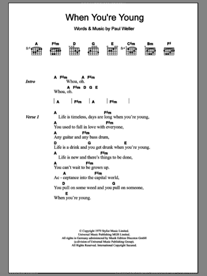 When You're Young sheet music for guitar (chords) by The Jam. Score Image Preview.