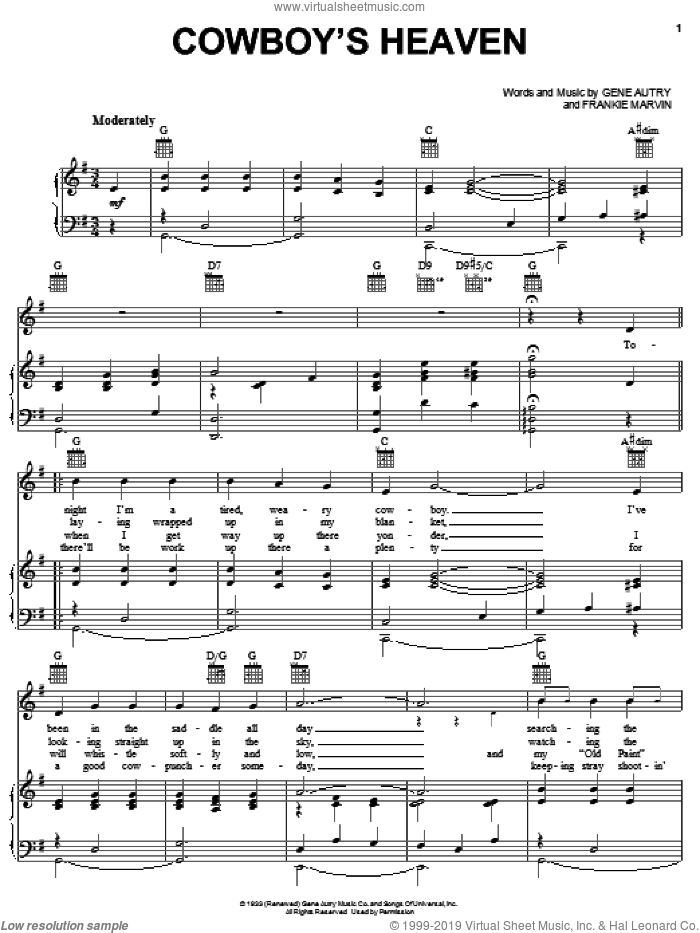 Cowboy's Heaven sheet music for voice, piano or guitar by Frankie Marvin and Gene Autry. Score Image Preview.