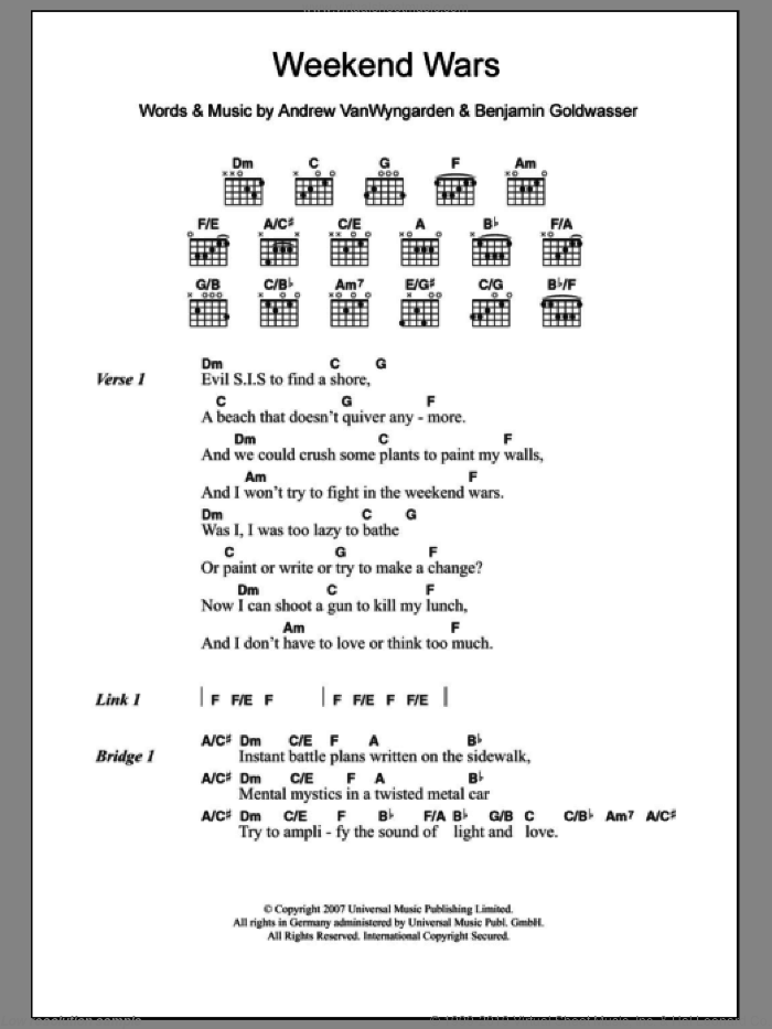 Weekend Wars sheet music for guitar (chords) by MGMT