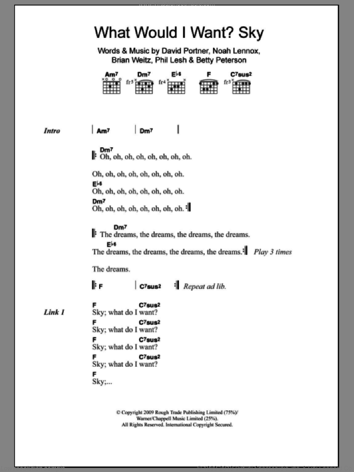 What Would I Want? Sky sheet music for guitar (chords, lyrics, melody) by Animal Collective