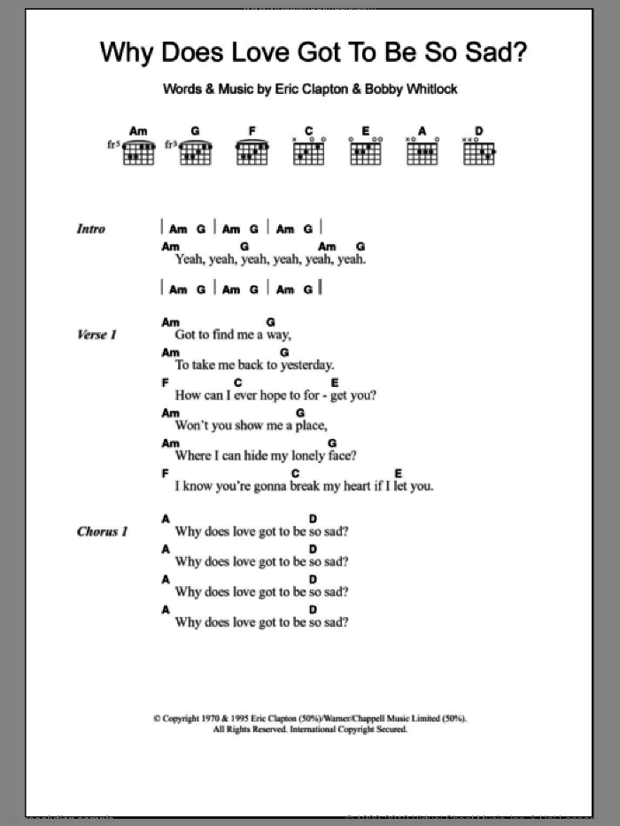 Why Does Love Got To Be So Sad? sheet music for guitar (chords) by Derek And The Dominos