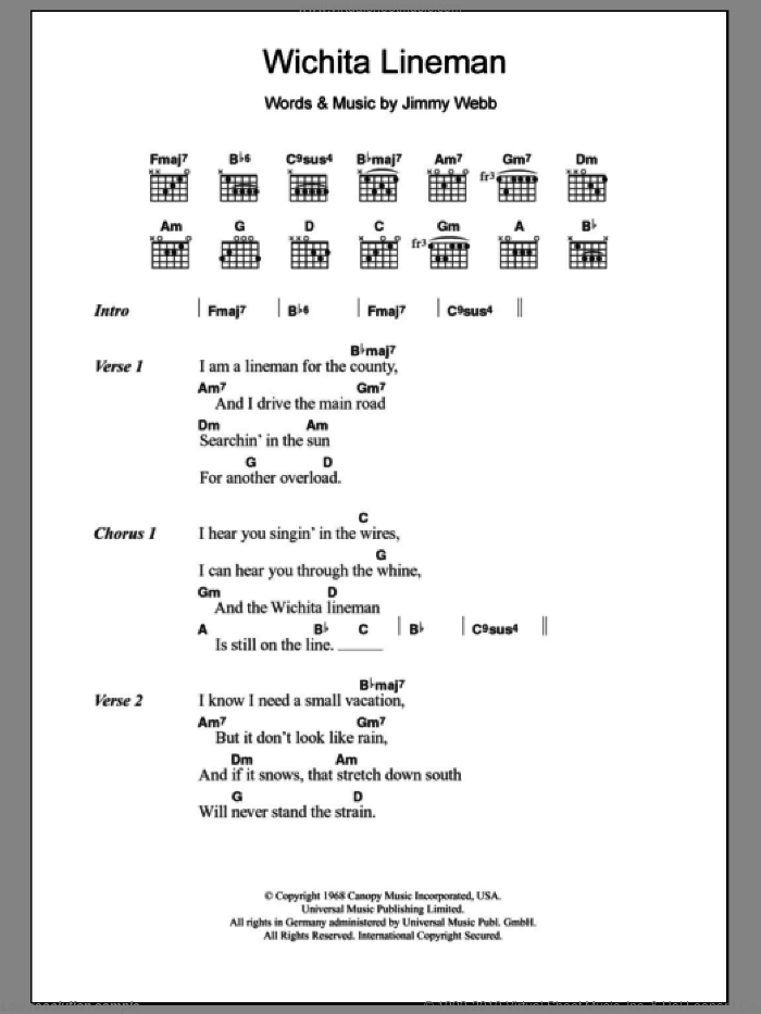 Wichita Lineman sheet music for guitar (chords) by Glen Campbell. Score Image Preview.