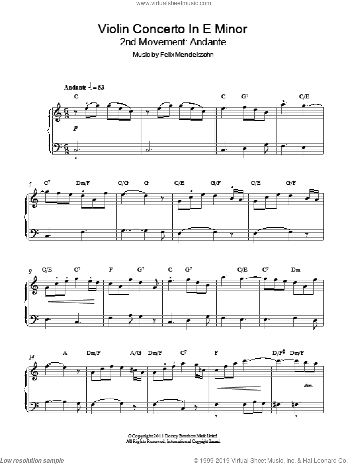 Violin Concerto In E Minor, 2nd Movement: Andante sheet music for piano solo by Felix Mendelssohn-Bartholdy, classical score, easy piano. Score Image Preview.