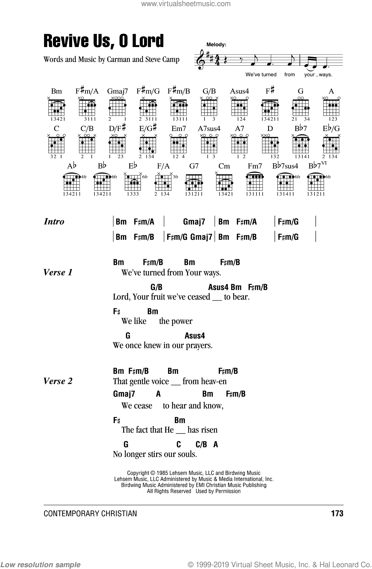 Revive Us, O Lord sheet music for guitar (chords, lyrics, melody) by Carman