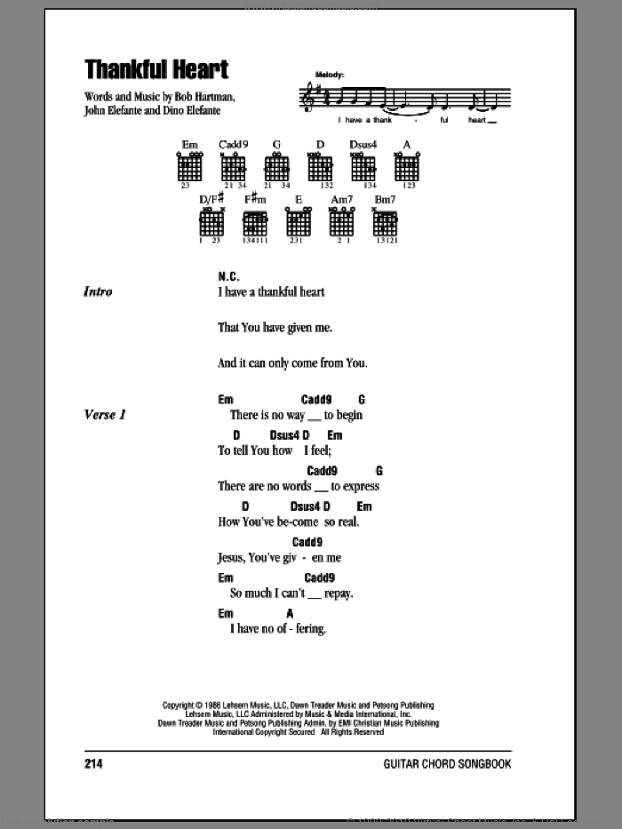 Thankful Heart sheet music for guitar (chords) by John Elefante and Bob Hartman. Score Image Preview.