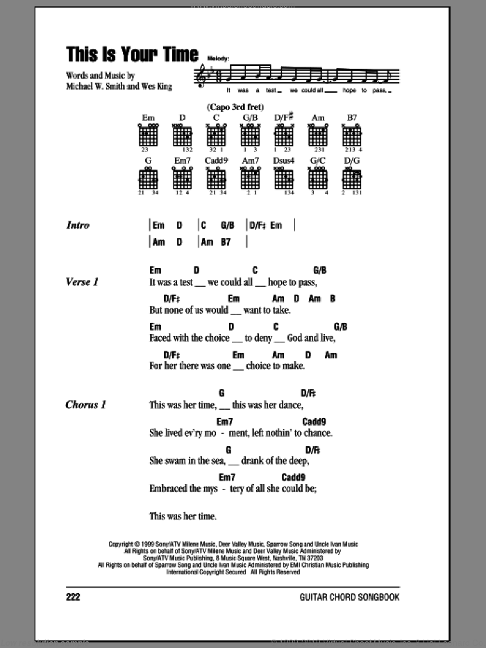 This Is Your Time sheet music for guitar (chords) by Michael W. Smith and Wes King, intermediate skill level