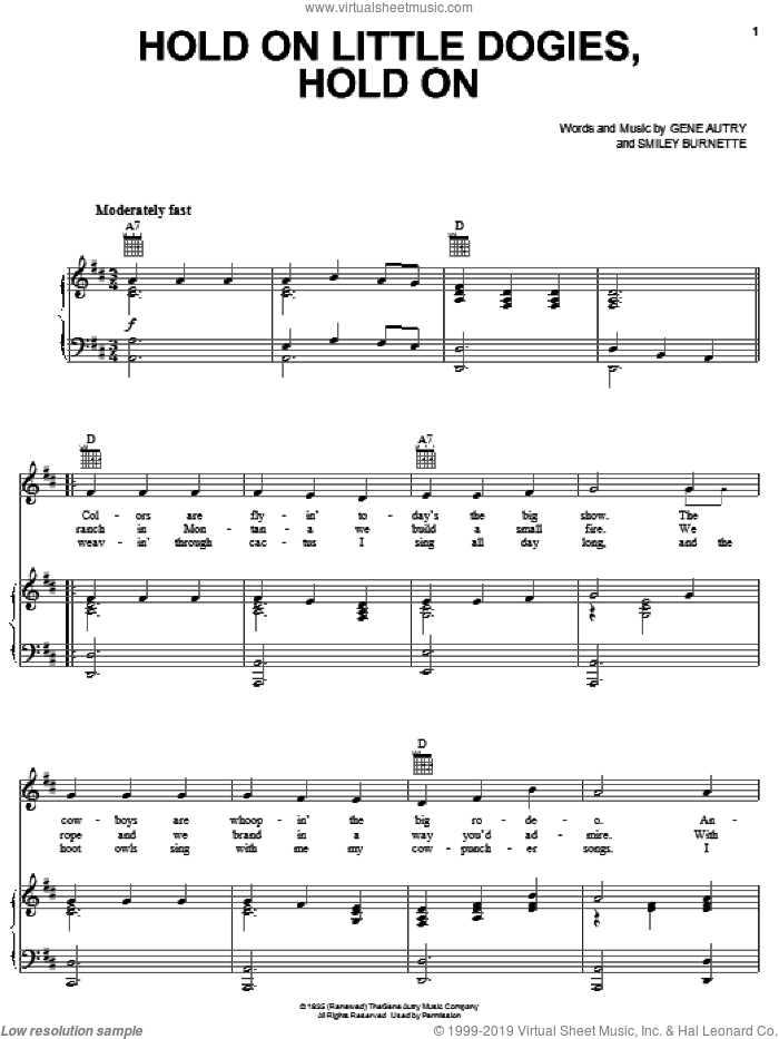 Hold On Little Dogies, Hold On sheet music for voice, piano or guitar by Gene Autry and Smiley Burnette, intermediate. Score Image Preview.