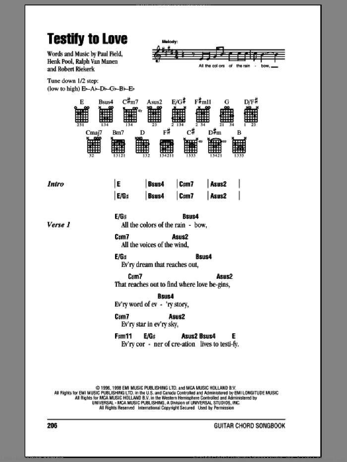 Testify To Love sheet music for guitar (chords) by Robert Riekerk and Paul Field. Score Image Preview.