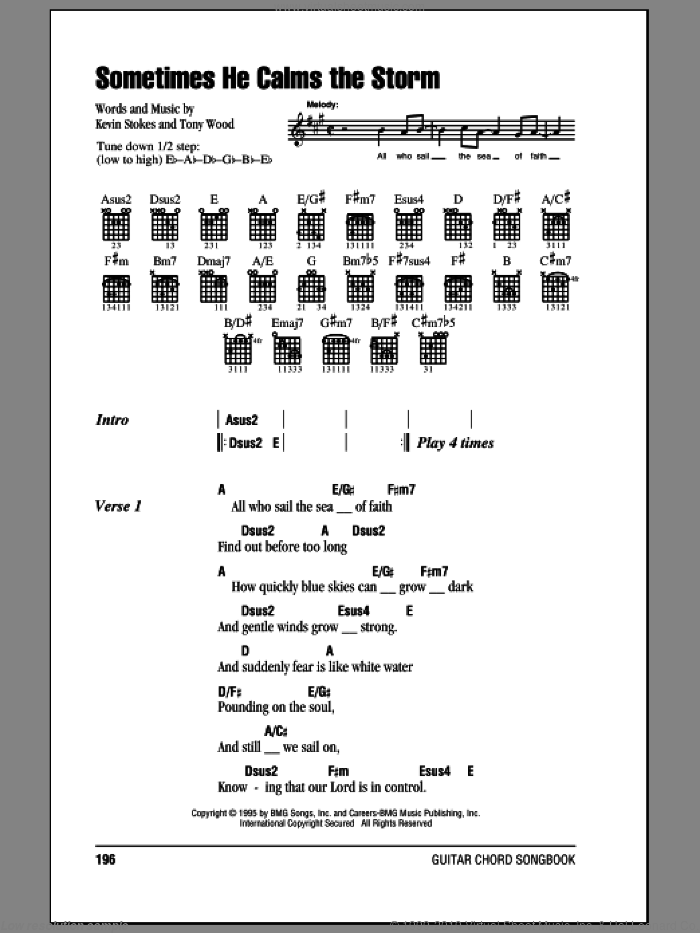 Sometimes He Calms The Storm sheet music for guitar (chords) by Scott Krippayne, Kevin Stokes and Tony Wood, intermediate guitar (chords). Score Image Preview.