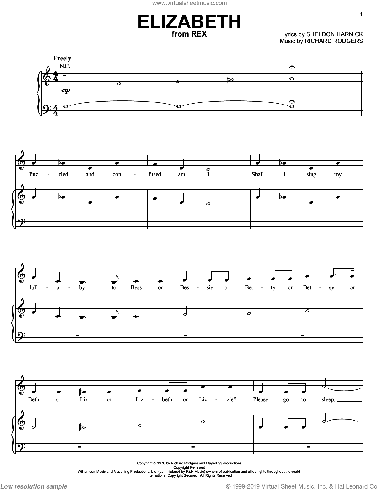 Elizabeth sheet music for voice, piano or guitar by Sheldon Harnick and Richard Rodgers. Score Image Preview.