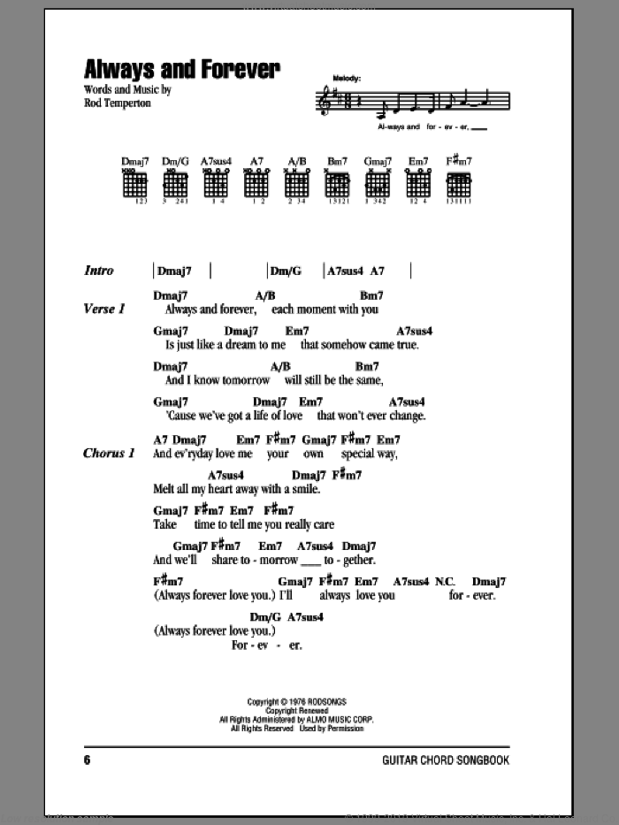 Always And Forever sheet music for guitar (chords) by Rod Temperton. Score Image Preview.