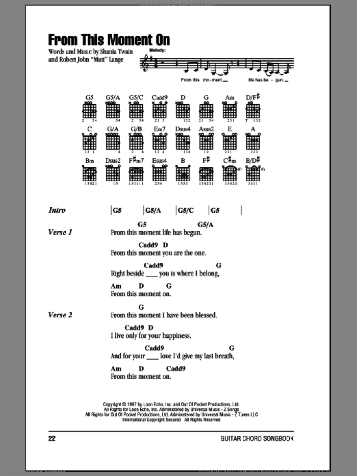 From This Moment On sheet music for guitar (chords) by Shania Twain and Robert John Lange, wedding score, intermediate. Score Image Preview.