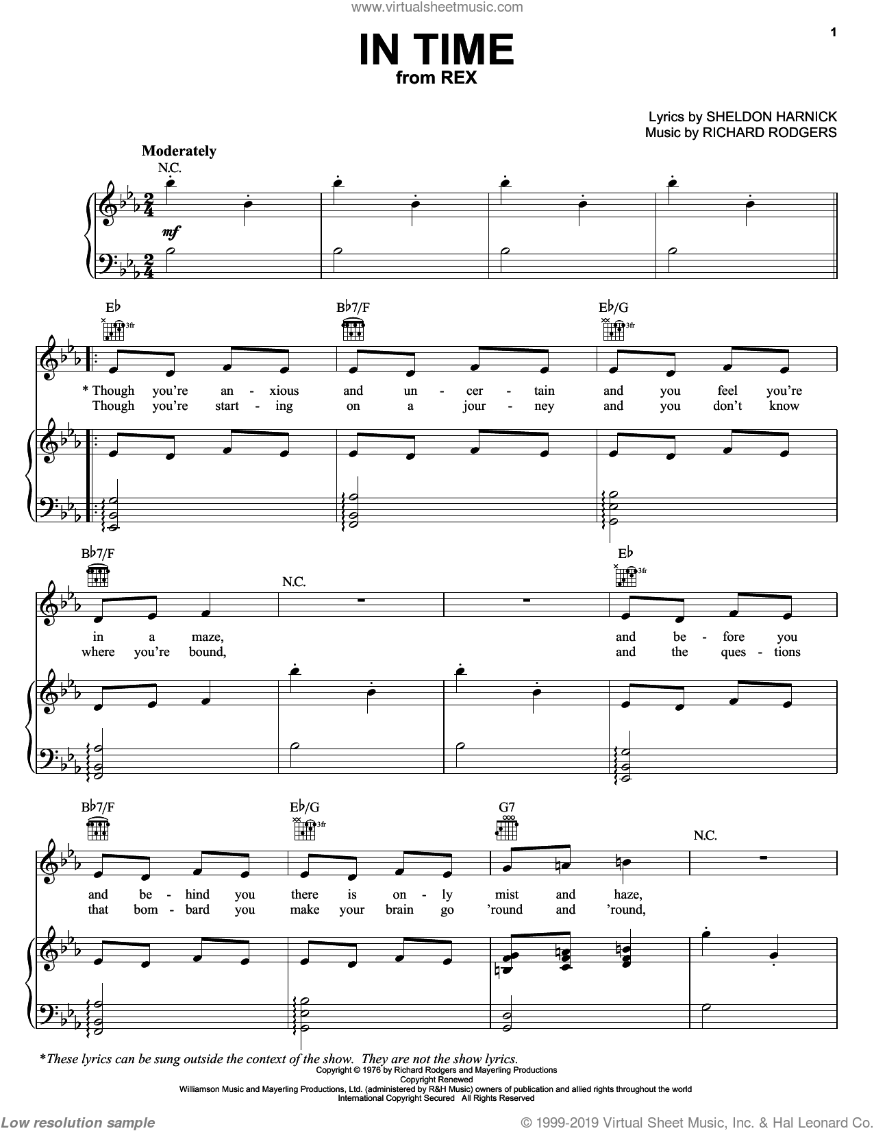 In Time sheet music for voice, piano or guitar by Richard Rodgers, Rex (Musical) and Sheldon Harnick, intermediate skill level