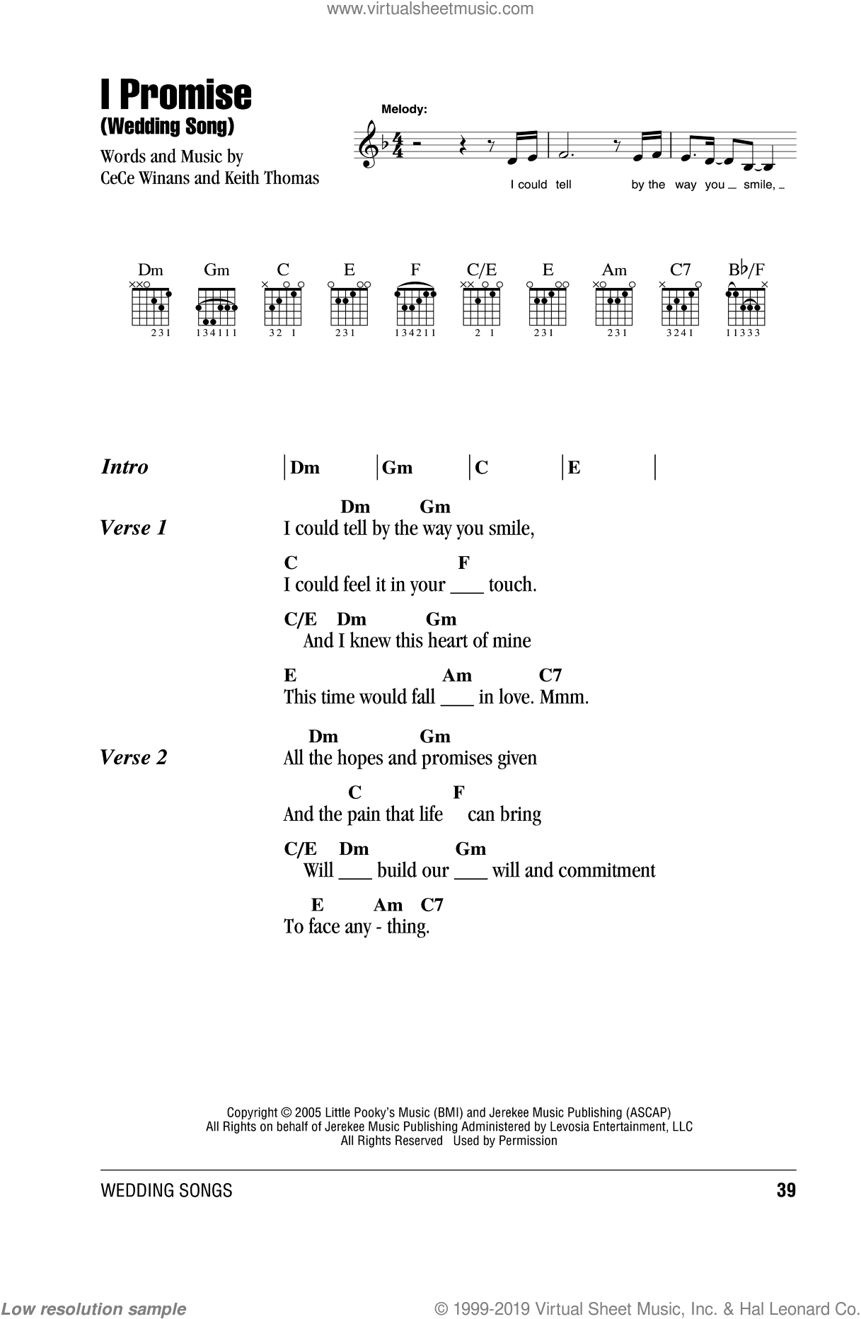 I Promise (Wedding Song) sheet music for guitar (chords) by CeCe Winans and Keith Thomas, wedding score, intermediate