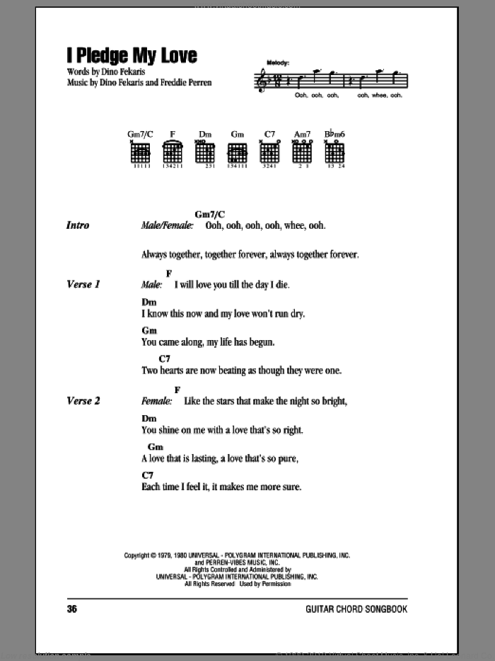 I Pledge My Love sheet music for guitar (chords, lyrics, melody) by Frederick Perren