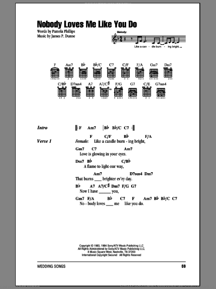 Nobody Loves Me Like You Do sheet music for guitar (chords) by Anne Murray, James P. Dunne and Pamela Phillips, wedding score, intermediate. Score Image Preview.