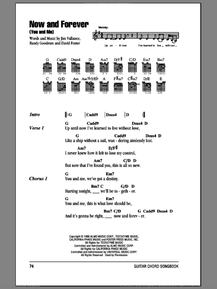 Now And Forever (You And Me) sheet music for guitar (chords) by Randy Goodrum, Anne Murray and David Foster, wedding score, intermediate
