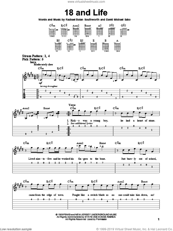 18 And Life sheet music for guitar solo (easy tablature) by Skid Row, David Michael Sabo and Rachael Bolan Southworth, easy guitar (easy tablature). Score Image Preview.