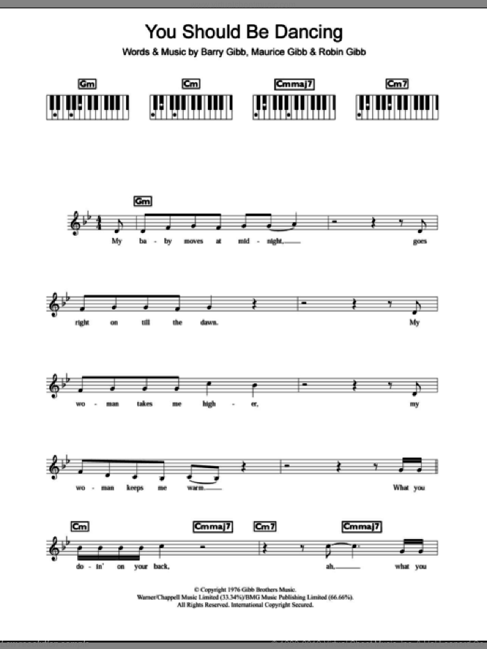 You Should Be Dancing sheet music for piano solo (chords, lyrics, melody) by Robin Gibb, Bee Gees, Barry Gibb and Maurice Gibb. Score Image Preview.